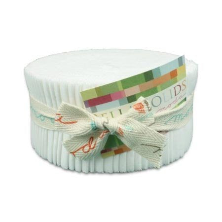 Moda Bella Solids White Bleached 9900-98 Jelly Roll, 40 2.5x44-inch Cotton Fabric Strips