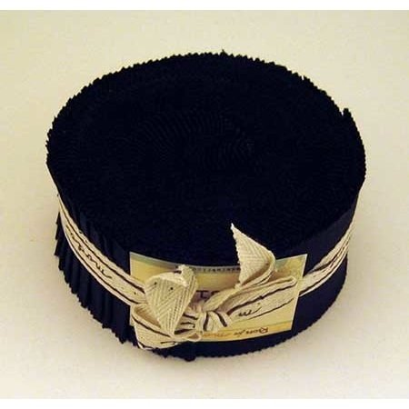 Moda Basics Bella Solids Black 9900-99 Jelly Roll, Set of 40 2.5x44-inch (6.4x112cm) Precut Cotton Fabric Strips