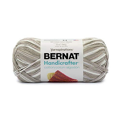 Image of Bernat Handicrafter Cotton Yarn, Gauge 4 Medium Worsted, Salt/Pepper