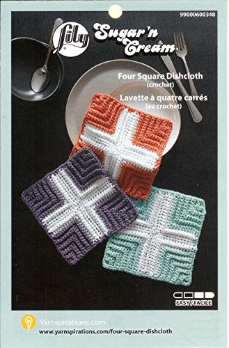 Variety Assortment Lily Sugar'n Cream Yarn 100 Percent Cotton Solids and Ombres (6-Pack) Medium Number 4 Worsted Bundle with Four Square Dishcloth Pattern