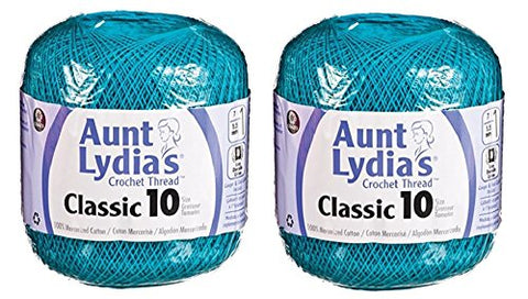 Aunt Lydia's Crochet Thread - Size 10 - Peacock (2-Pack)