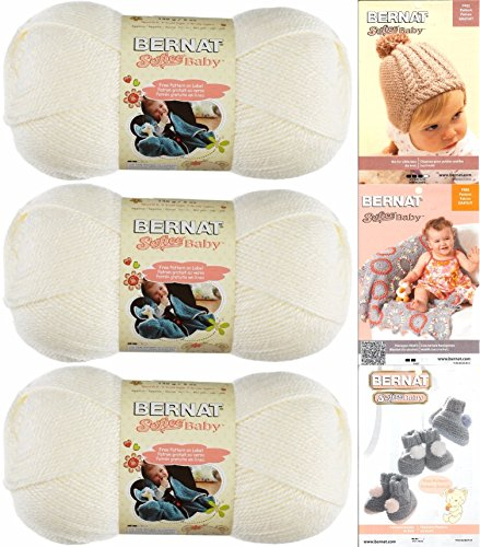 Bernat Softee Baby Acrylic Yarn 3 Pack Bundle Includes 3 Patterns DK Light Worsted #3
