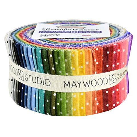 Image of Beautiful Basics Classic Dot Precut Quilting Strips of Fabric Jelly Roll 40 2.5-inch by Maywood Studio