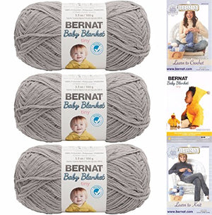 Bernat Baby Blanket Tiny Yarn 3 Pack 100 Percent Polyester Gauge Medium 4 Worsted Bundle