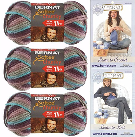 Image of Bernat Softee Chunky Yarn Super Bulky #6, 3 Skeins Shadow Ombre 29121 Bundle