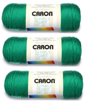 Caron Simply Soft Yarn 6 oz Med (4) Weight (3-Pack) Kelly Green