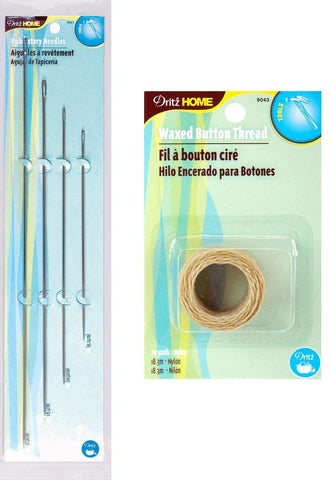 Image of Dritz 4 Pack Upholstery Needles + Dritz Waxed Button Thread (Natural - 20 Yards) -- Complete Upholstery Sewing Kit