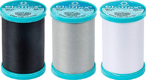 CESDes Bundle of 3 Coats Eloflex Streatch Thread: 3 Colors 225 yds ea Polyester