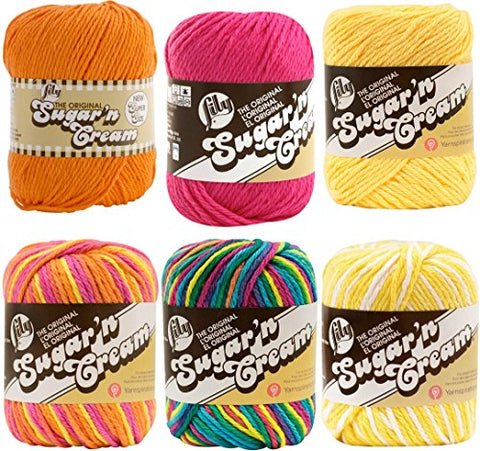 Variety Assortment Lily Sugar'n Cream Yarn 100 Percent Cotton Solids and Ombres (6-Pack) Medium Number 4 Worsted Bundle with 4 Patterns