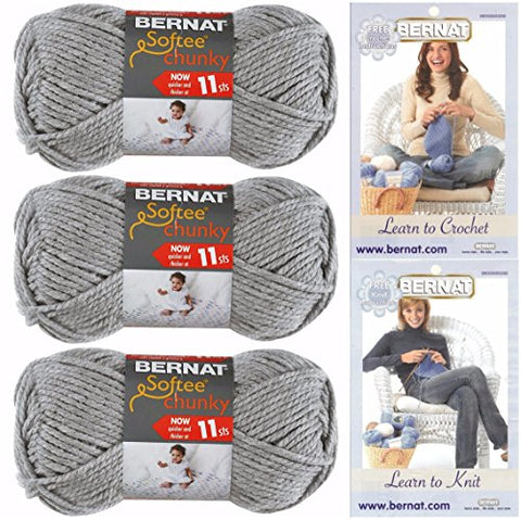 Image of Bernat Softee Chunky Yarn, Super Bulky #6, 3 Skeins Grey Heather 28046 Bundle