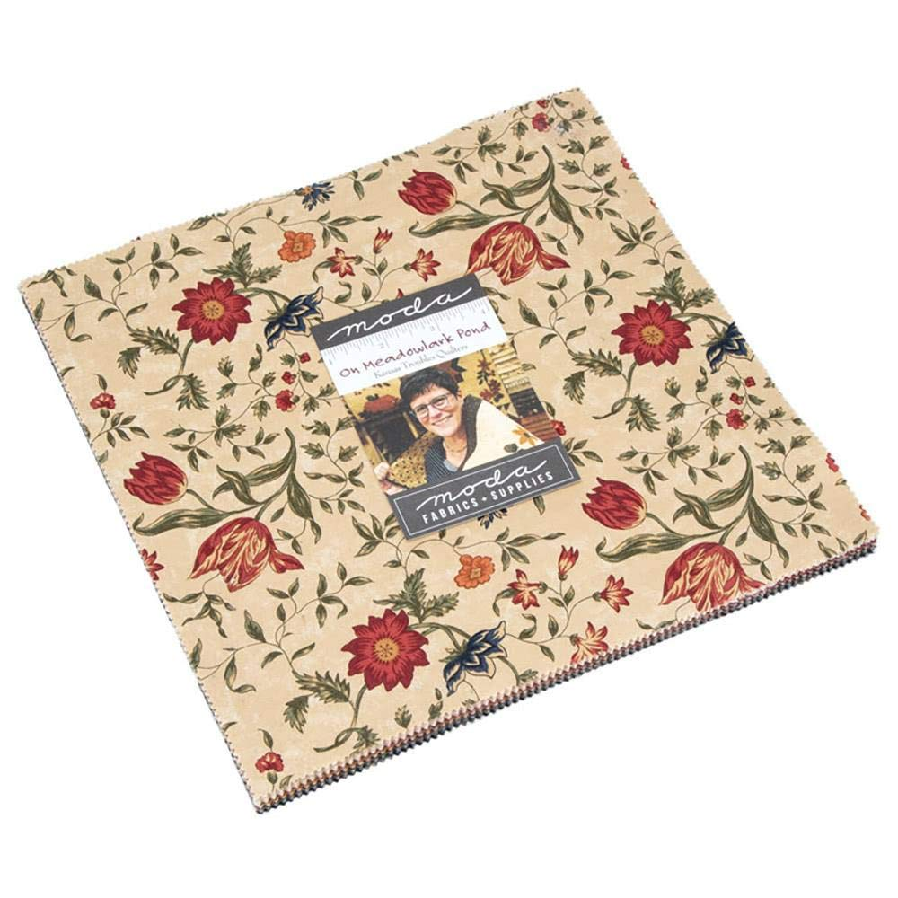"On Meadowlark Pond Layer Cake, 42-10"" Precut Fabric Quilt Squares by Kansas Troubles Quilters for Moda Fabrics 9590LC"