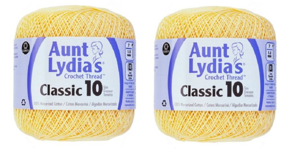 Aunt Lydia's Crochet Thread - Size 10 - Maize (2-Pack)