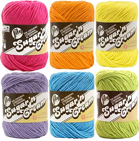 Image of Lily Sugar n' Cream Solid Variety Assortment 6 Pack Bundle 100 Percent Cotton Medium 4 Worsted (Multicolor)