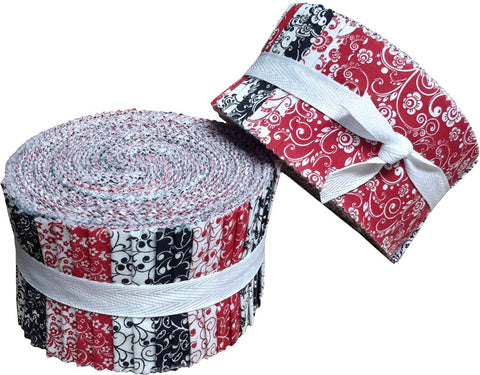 Image of Red Black & White Collection Jelly Roll 40 Precut 2.5-inch Quilting Fabric Strips