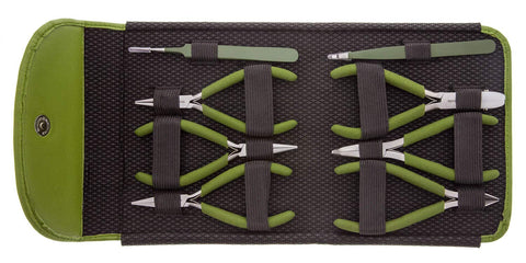 Image of BEADSMITH 8 FASHION- OLIVE COLOR TOOL SET FOR MAKING JEWELRY with COORDINATED CLUTCH CARRY CASE