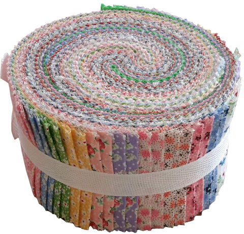 Image of Vintage Floral Miniatures Jelly Roll Collection 40 Precut 2.5-inch Quilting Fabric Strips