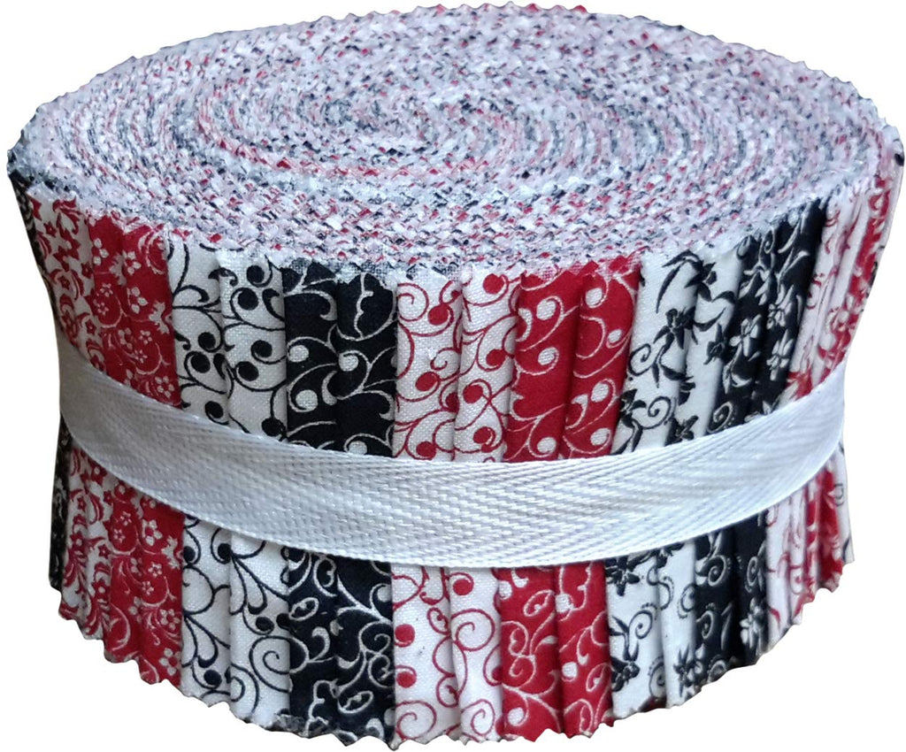 Red Black & White Collection Jelly Roll 40 Precut 2.5-inch Quilting Fabric Strips