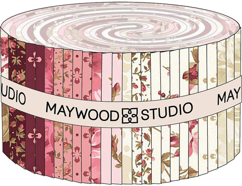 Burgundy & Blush Strips 40 2.5-inch Strips Jelly Roll Maywood Studio