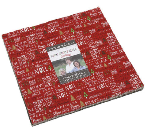 Image of Merry Starts Here Layer Cake 42 10-inch Fabric Squares by Sweetwater for Moda Fabrics