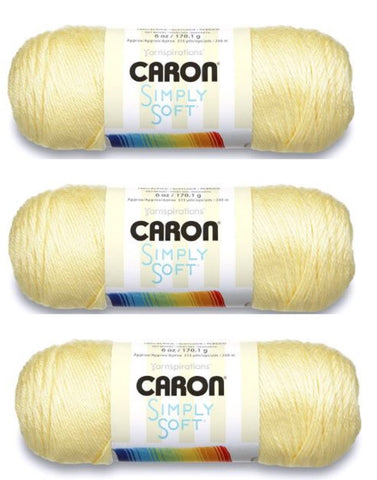 Spinrite Caron Simply Soft Yarn 6 oz Med (4) Weight (3-Pack) Baby Sunshine