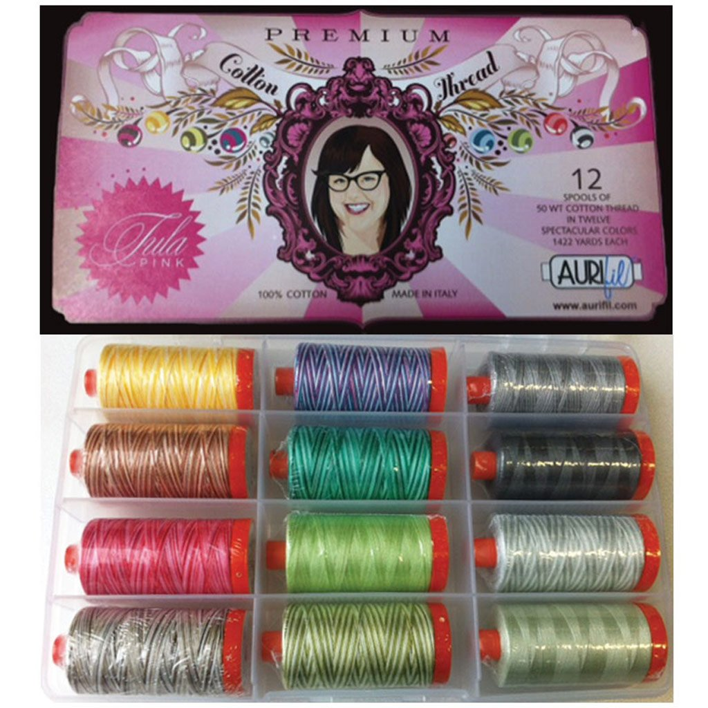Tula Pink Premium Collection Aurifil Thread Kit 12 Large Spools 50 Weight TP50TP12