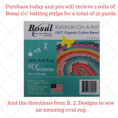 Image of Jelly Roll Rug Kit Bundle, Including Pattern and Two (2) Rolls of Bosal Katahdin Batting On-A-Roll