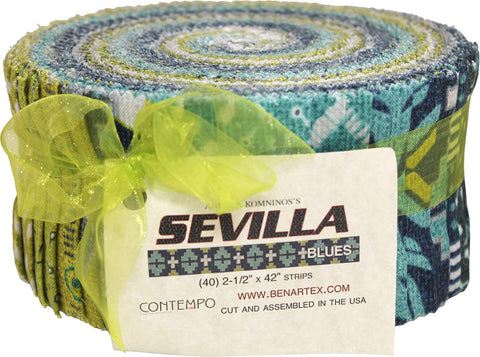 Benartex Sevilla Blues Pinwheel Jelly Roll Quilting Fabric, Assorted