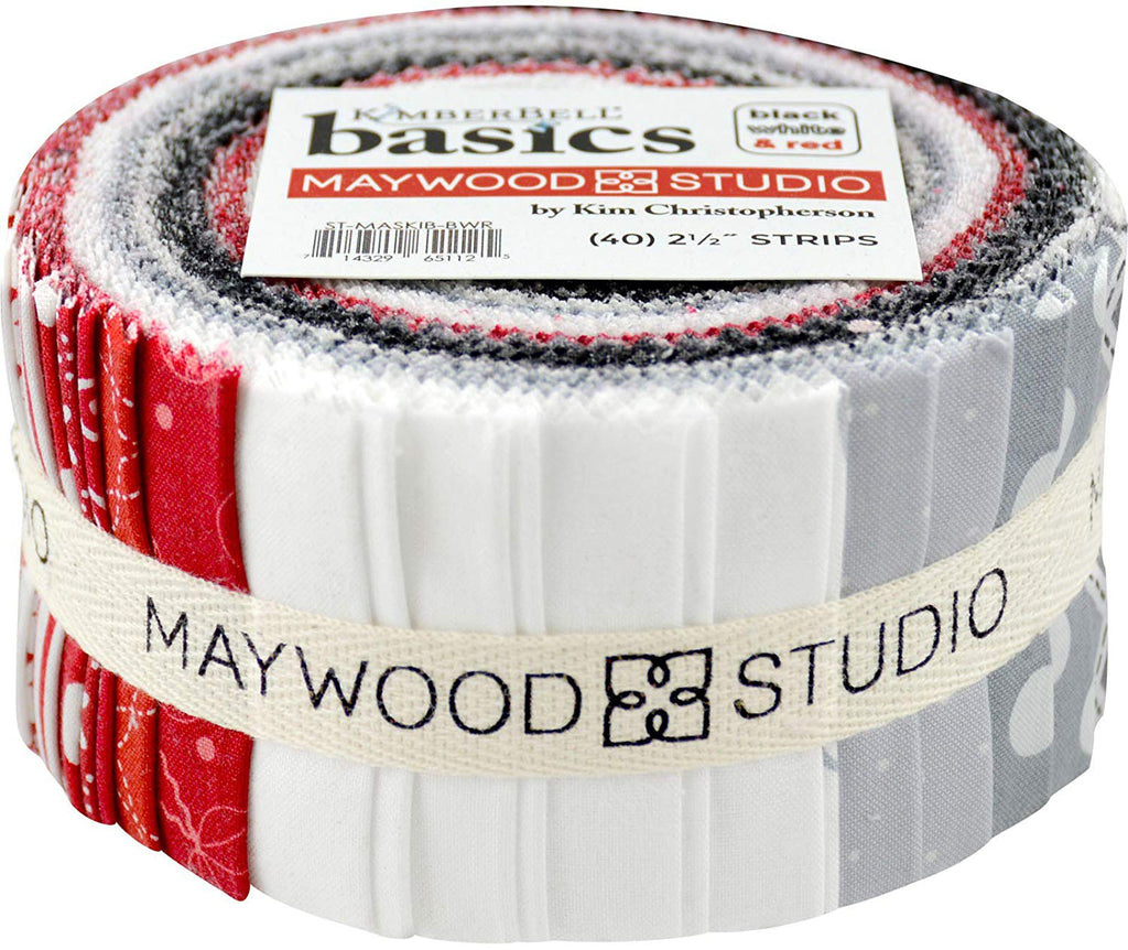 KimberBell Basics Black White & Red Strips 40 2.5-inch Strips Jelly Roll Maywood Studio