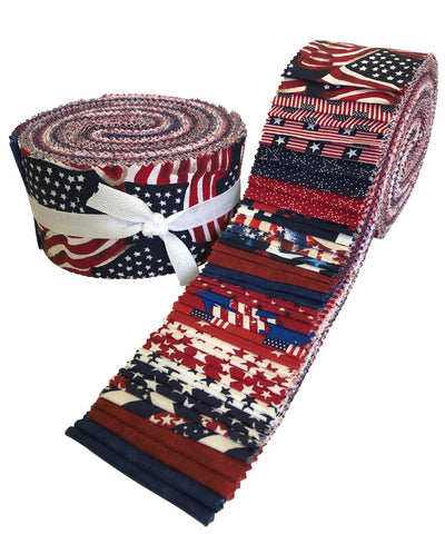 Image of Made in USA Jelly Roll Collection 40 Precut 2.5-inch Quilting Fabric Strips