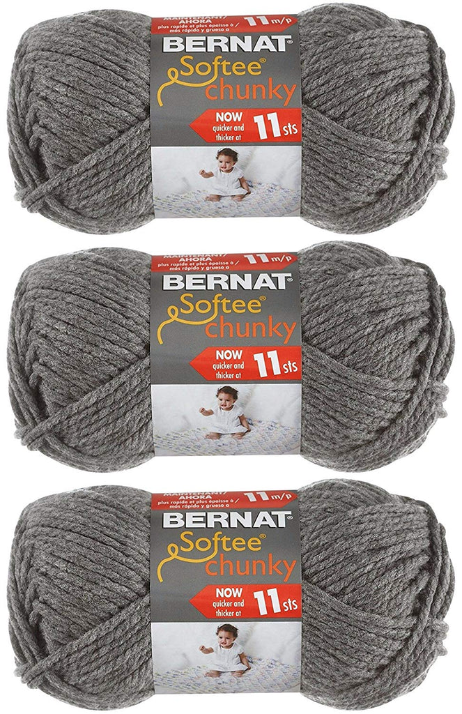 Bernat Softee Chunky Yarn Bundle Super Bulky #6, 3 Skeins True Grey 28044