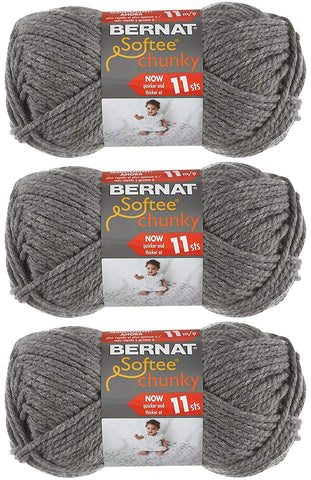 Image of Bernat Softee Chunky Yarn Bundle Super Bulky #6, 3 Skeins True Grey 28044