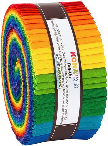 Image of Kona Cotton Bright Rainbow Roll Up 40 2.5-inch Strips Jelly Roll Robert Kaufman