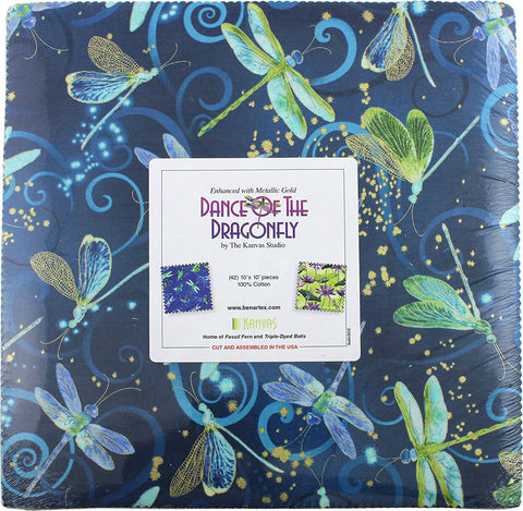Image of Benartex DANCE OF THE DRAGONFLY 10-inch Precut Squares Cotton Fabric Quilting Assortment Layer Cake