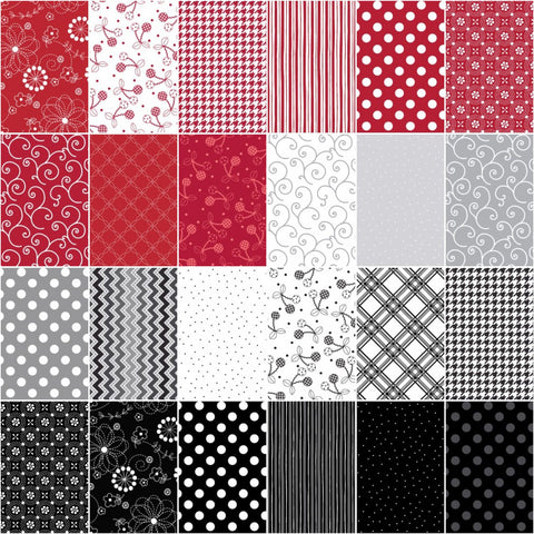 Image of KimberBell Basics Black White & Red Strips 40 2.5-inch Strips Jelly Roll Maywood Studio