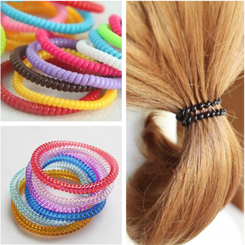 1Pc/Lot Girls Colorful Rubber Wire Hair Ties&Plastic Ropes Hair Band Accessories - Buy4Him4Her