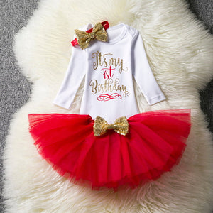 1st Birthday Cake Outfits Infant Sets Romper+Tutu Skirt+Flower Cap - Buy4Him4Her