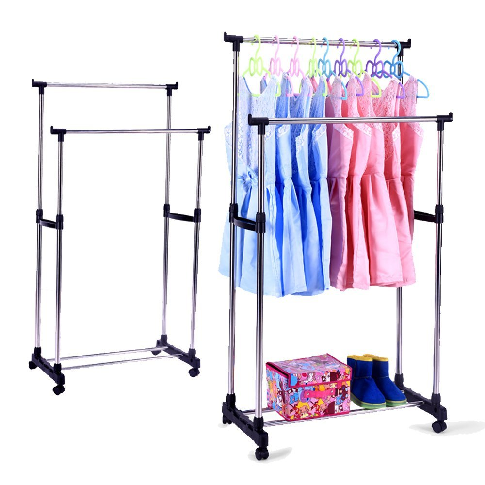 Portable Double Rods Rolling Rack - Buy4Him4Her