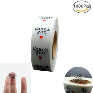 "1000 Pcs 1-inch Clear Round ""Thank You"" Peel and stick label - Buy4Him4Her"