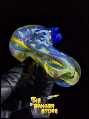 Blue Horned Squiggly Fumed Glass Pipe - The Banger Store