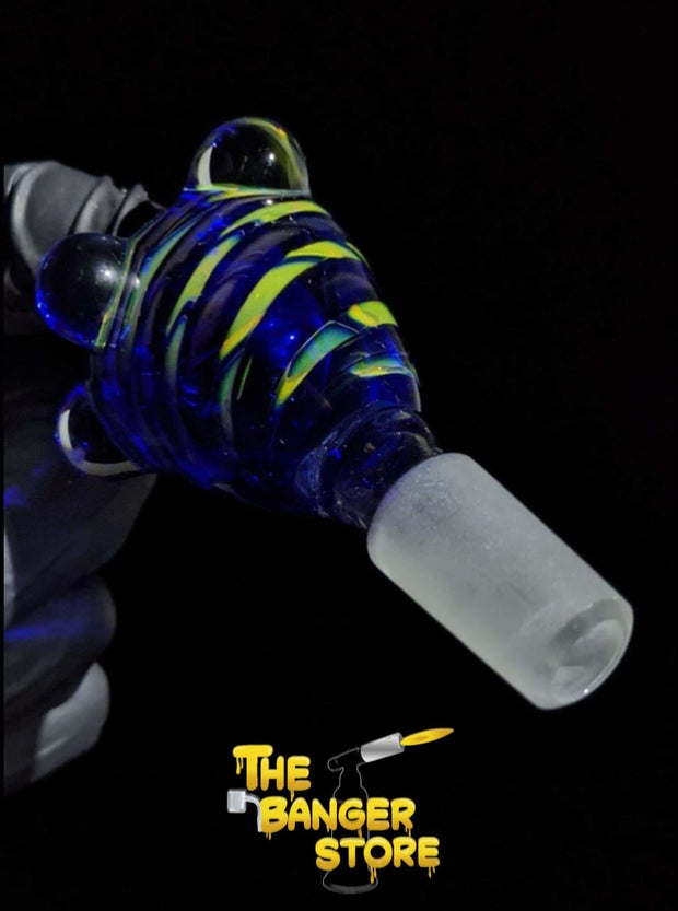Blue & Yellow Spiral Bowl Piece  - Crondo619 - The Banger Store