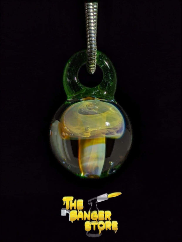 Crippy Borosilicate Mushroom Implosion Pendant - Strawberry_Glass - The Banger Store