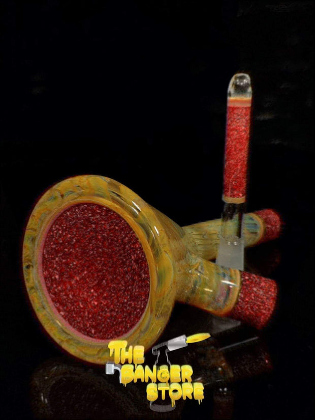 Fumed Straight Mini Tube Oil Rig - Strawberry_Glass - The Banger Store