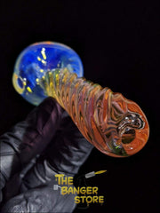 Gold Fumed Glass Spiral Pipe - The Banger Store
