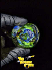 Green & Blue Squiggly Fumed Glass Pipe - The Banger Store