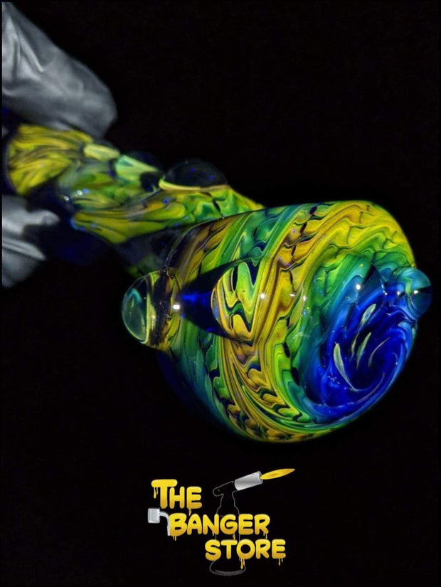 Green Unique Fumed Glass Reversal Pipe - The Banger Store
