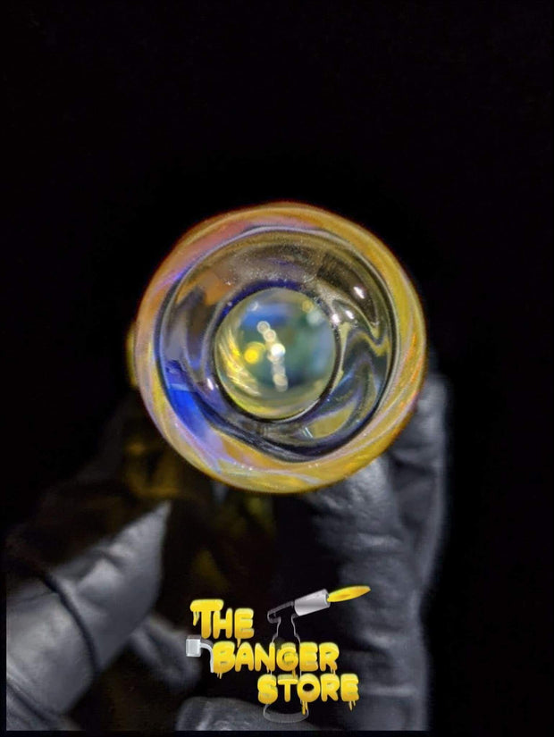 Silver and Gold Fumed Glass Spiral Pipe - The Banger Store