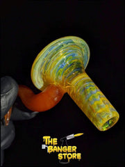 Thomas Orange Fumed Horn Bowl Piece  - Strawberry Glass - The Banger Store