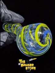 Yellow and Blue Clear Squiggle Glass Pipe - The Banger Store