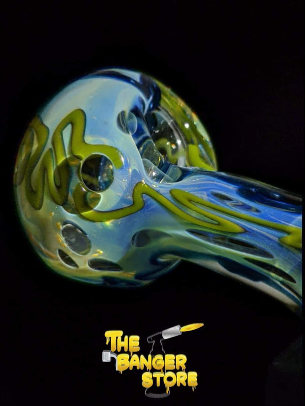 Yellow & Blue Squiggly Fumed Glass Pipe - The Banger Store