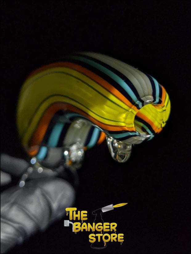Yellow Fishing Lure Glass Pipe - Linework Tubing - The Banger Store